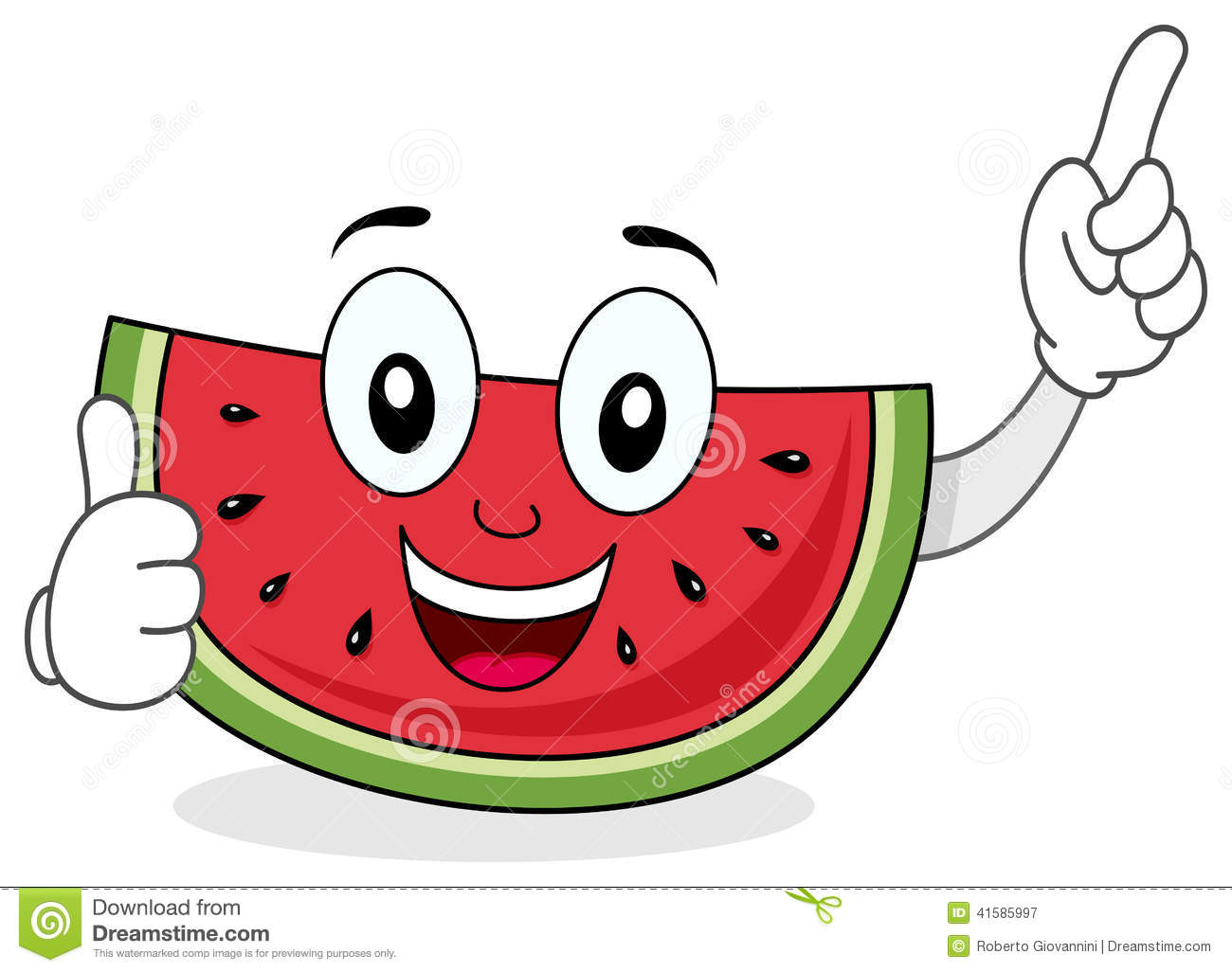 Happy Smiling Watermelon Character Stock Vector