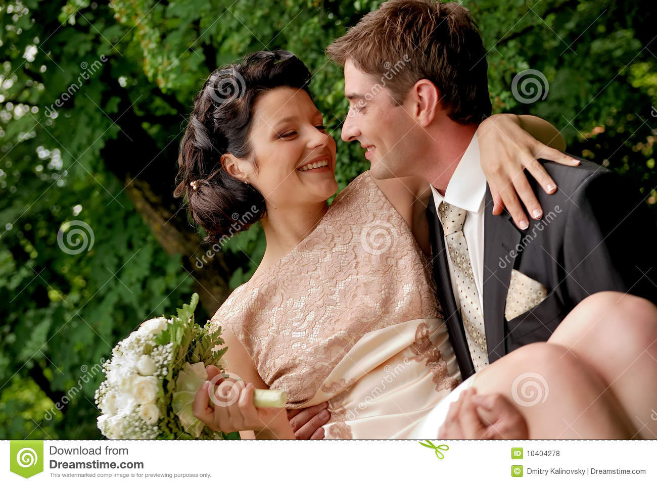 8 Non Religious Wedding Readings For Couples With Taste: Happy Smiling Wedding Couple Outdoors. Royalty Free Stock