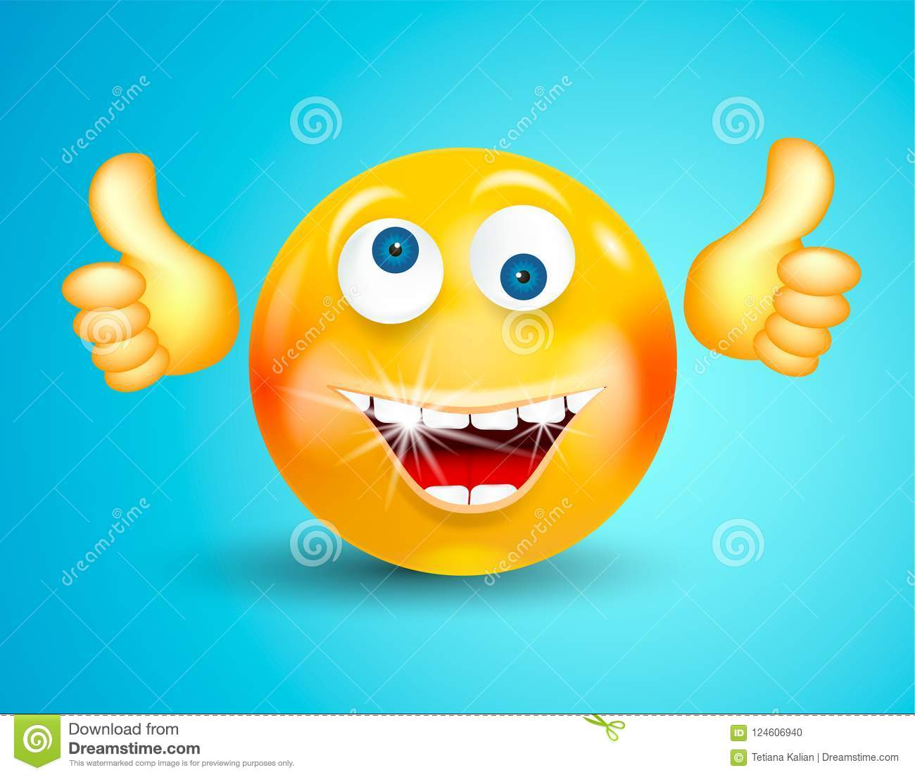 Happy smiling with white shining teeth emoticon or round face showing thumbs up or OK on bright blue background. Cartoon character