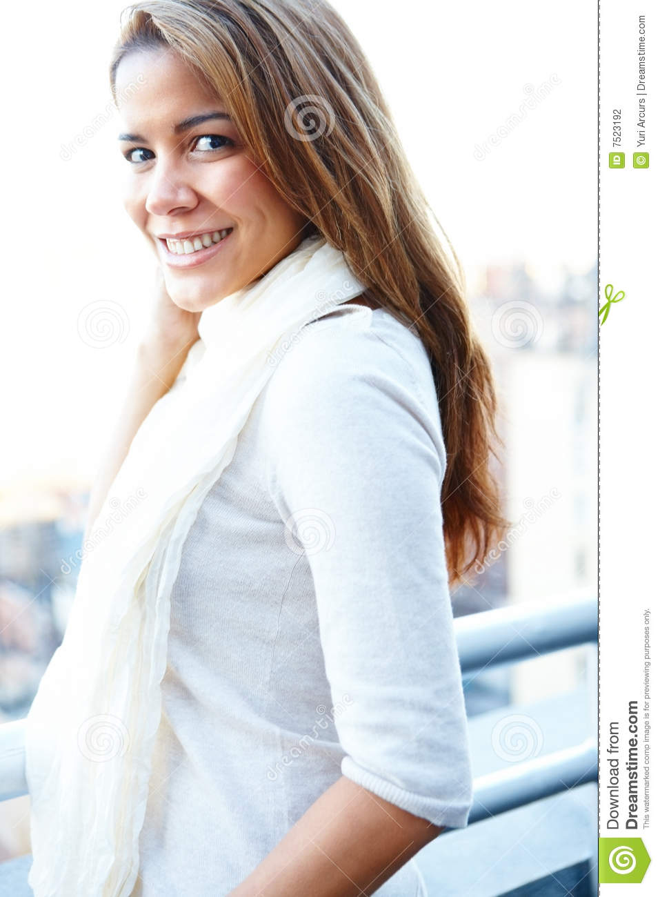 Stock Photography: Happy smiling woman standing on balcony ...