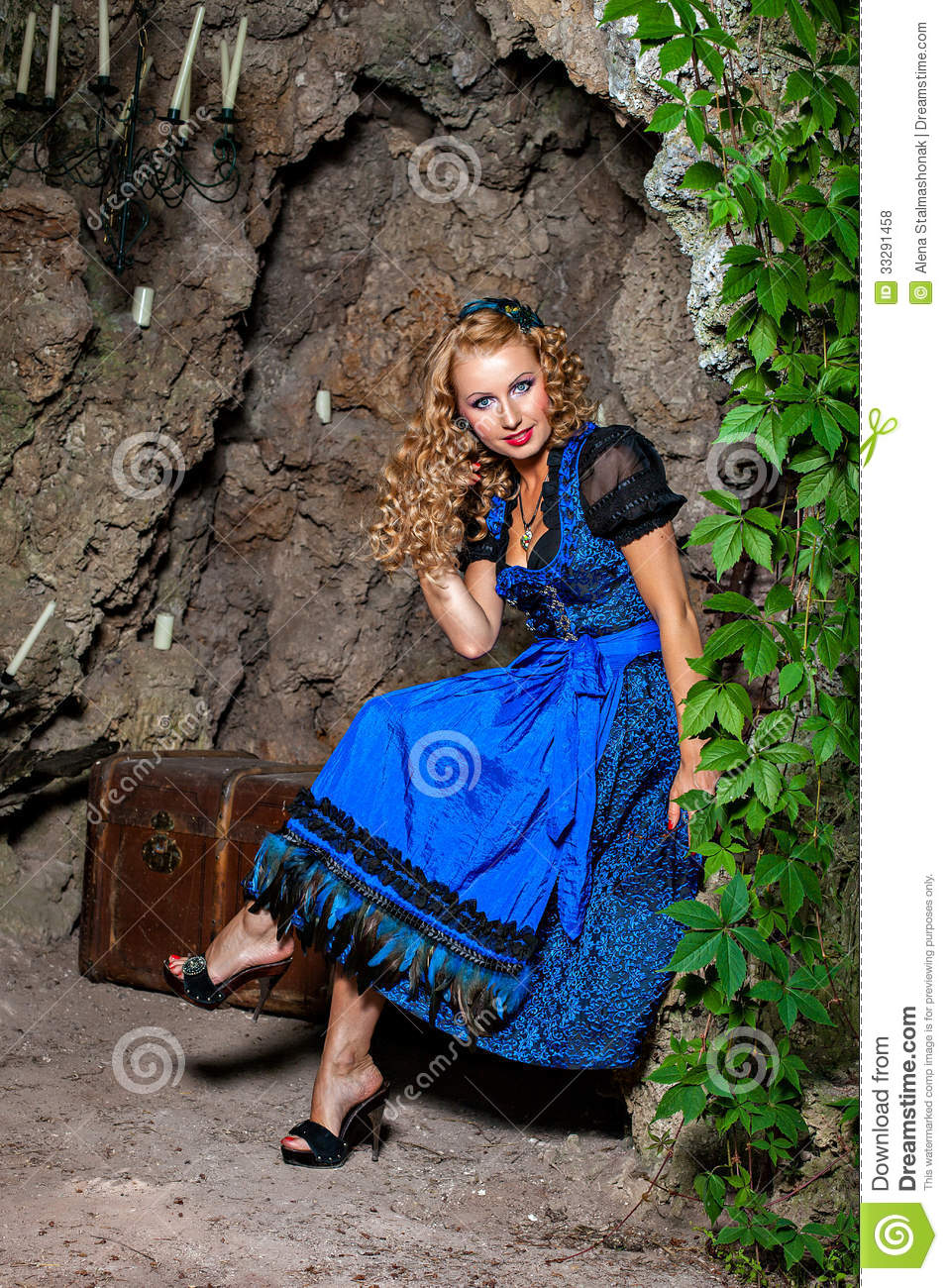 happy smiling woman wearing dirndl stock photo image of