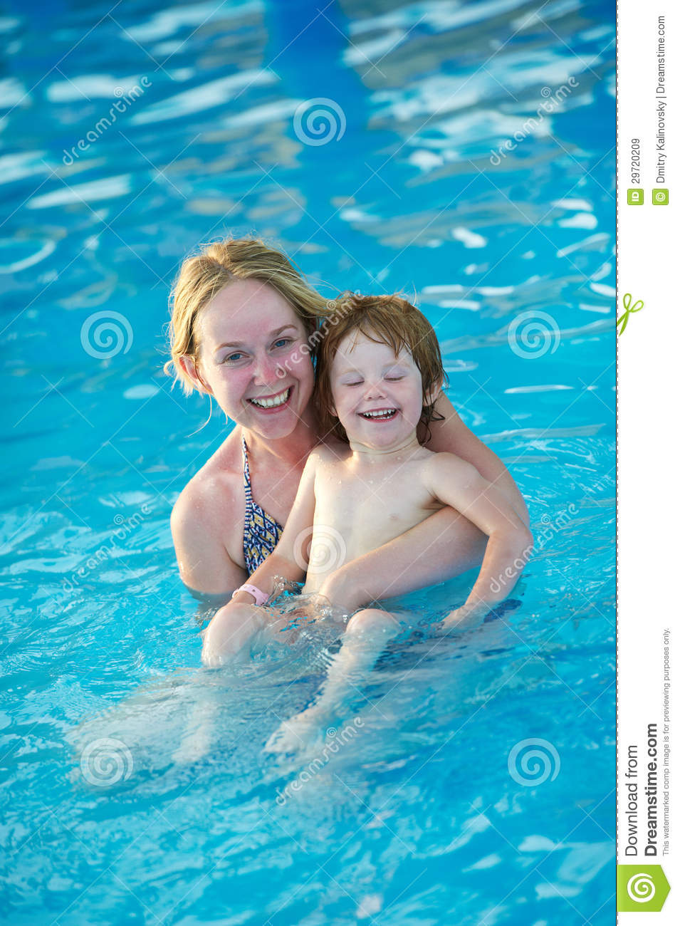 Woman And Child In Resort Swimming Pool Stock Image - Image ...