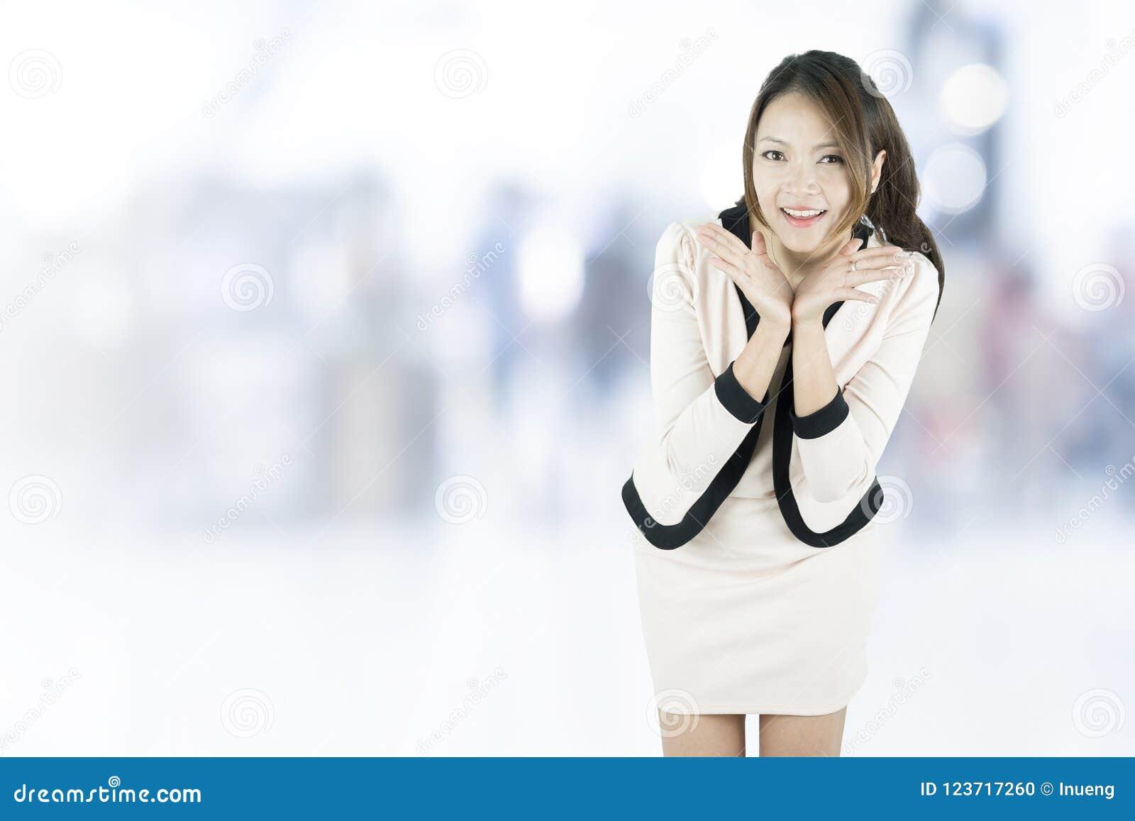 Happy smiling beautiful asian business woman.
