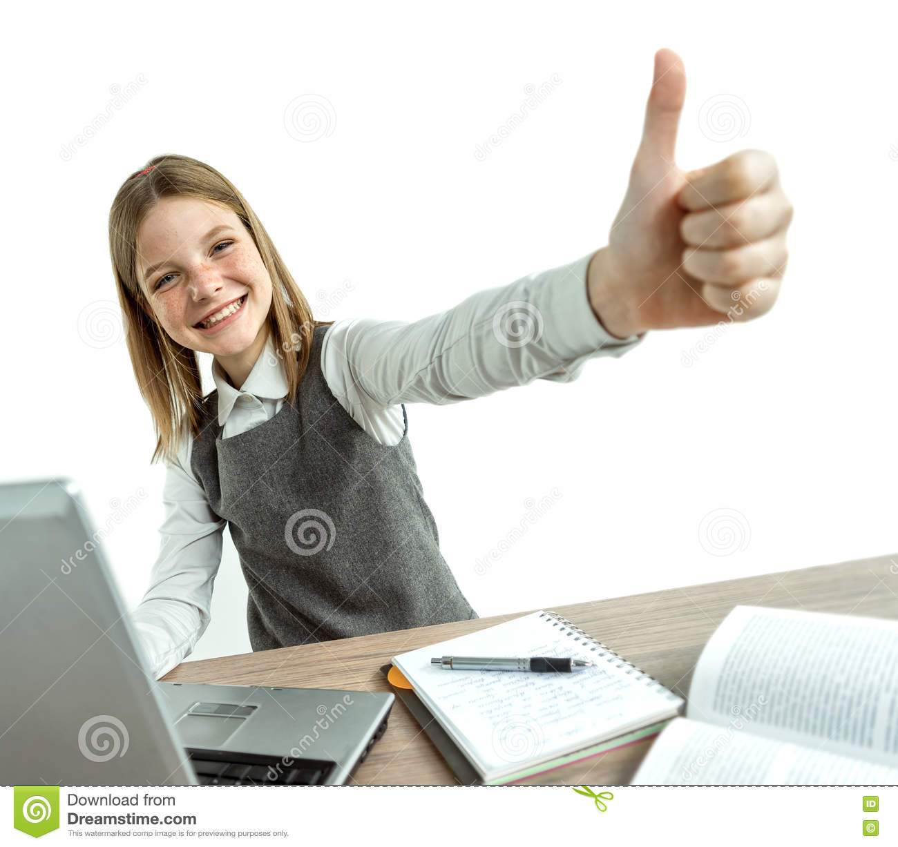 Clever School Girl: Happy Smiling Young Girl Showing Thumbs Up Gesture While