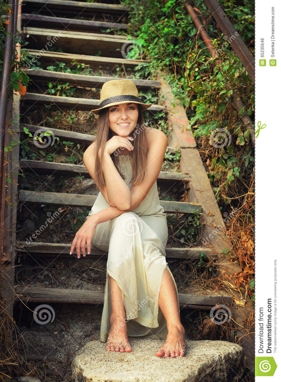 https://thumbs.dreamstime.com/z/happy-smiling-young-woman-dressed-hat-white-long-dress-sitting-barefoot-vintage-wooden-stairs-park-65235648.jpg