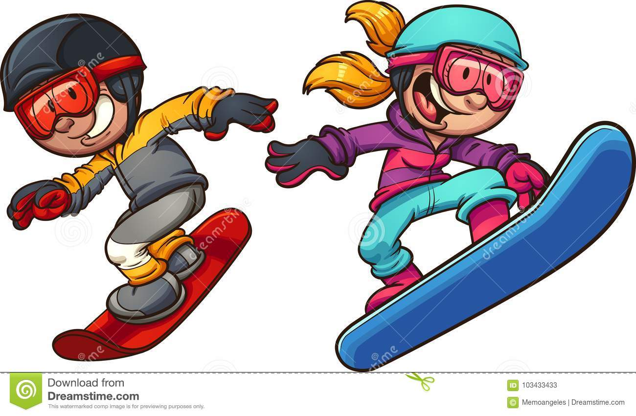 happy snowboarding boy and girl stock vector illustration of rh dreamstime com snowboarding clipart free snowboarding clipart free