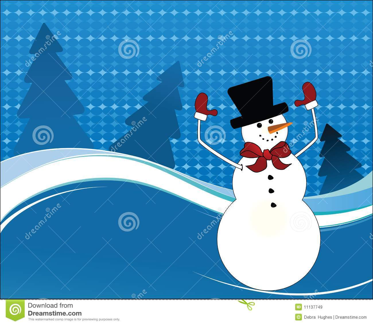 Happy Snowman Arms In The Air Stock Vector