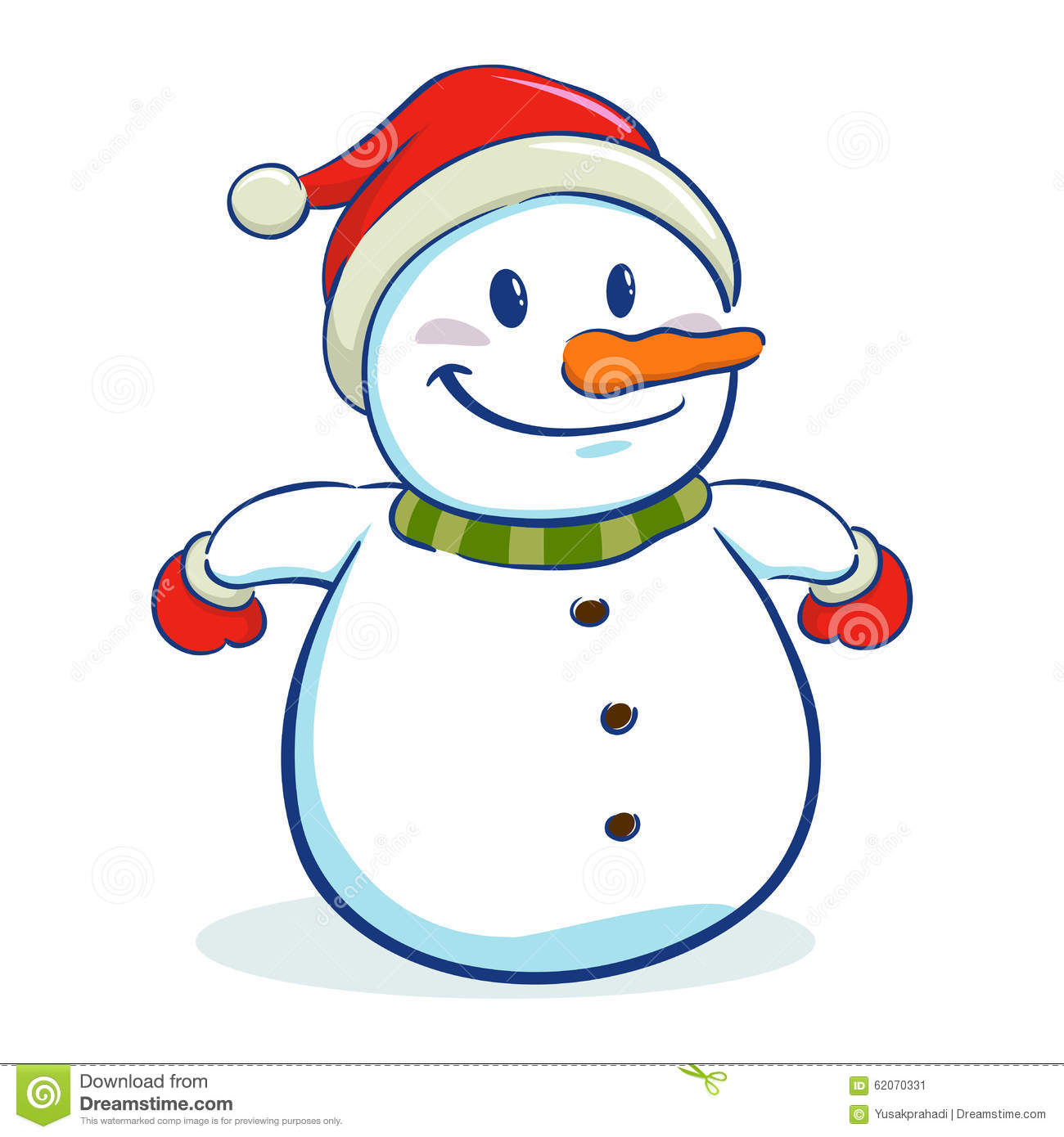 Happy Snowman Character In Winter Christmas Stock Vector - Image ...