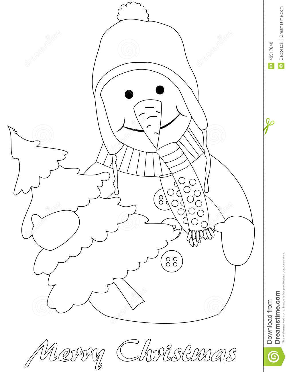 Happy Snowman With Christmas Tree Stock Vector Image Tree And Snowman Coloring Pages