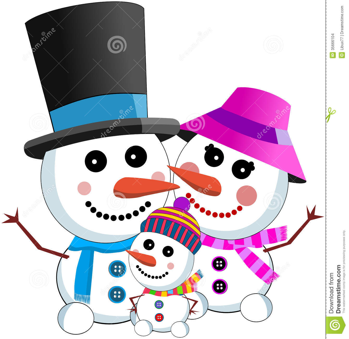 Happy Snowman Family Stock Vector Illustration Of Winter