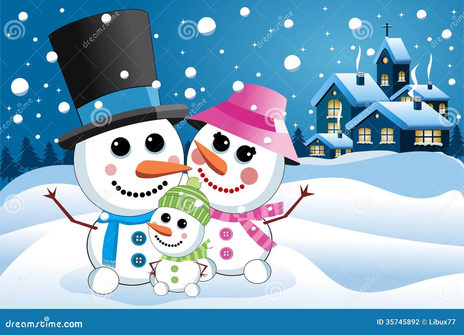 Clip Art Snowgirl Happy Snowman Family under