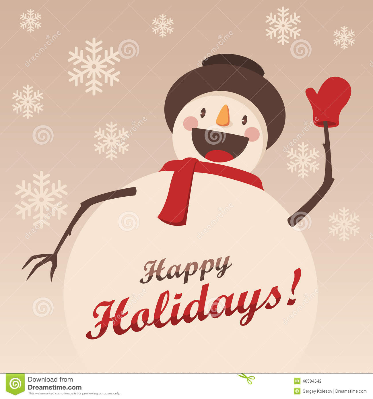 Happy Snowman greets you. Christmas background with snowflakes.