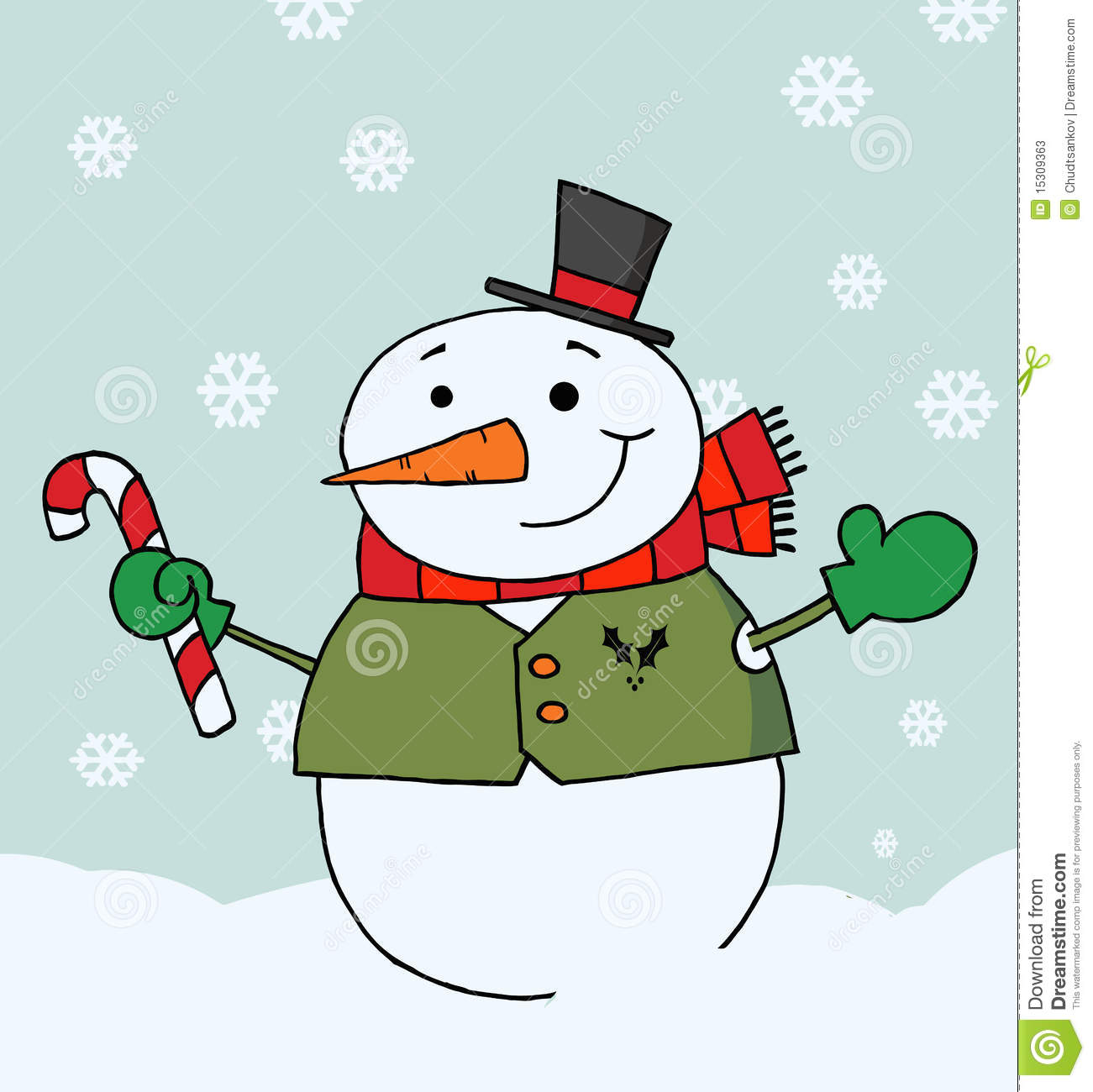 Happy Snowman Holding A Candy Cane Stock Vector - Illustration of ...