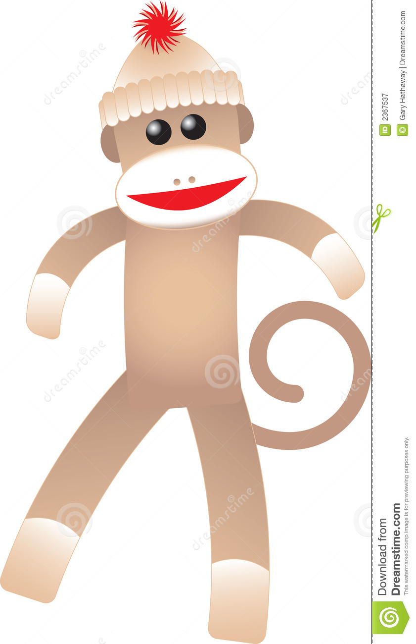 happy sock monkey stock vector illustration of happy 2367537 rh dreamstime com