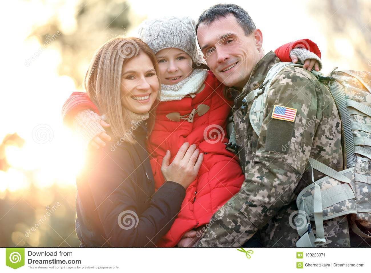 Happy soldier with family
