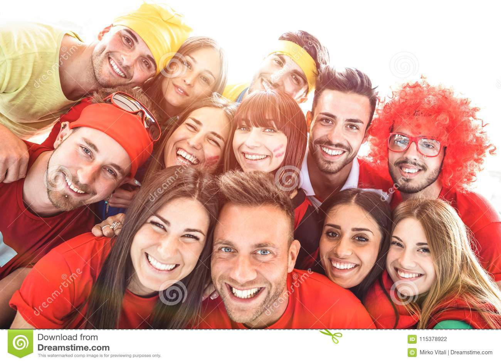 Happy sport friends taking selfie at world soccer event - Friend