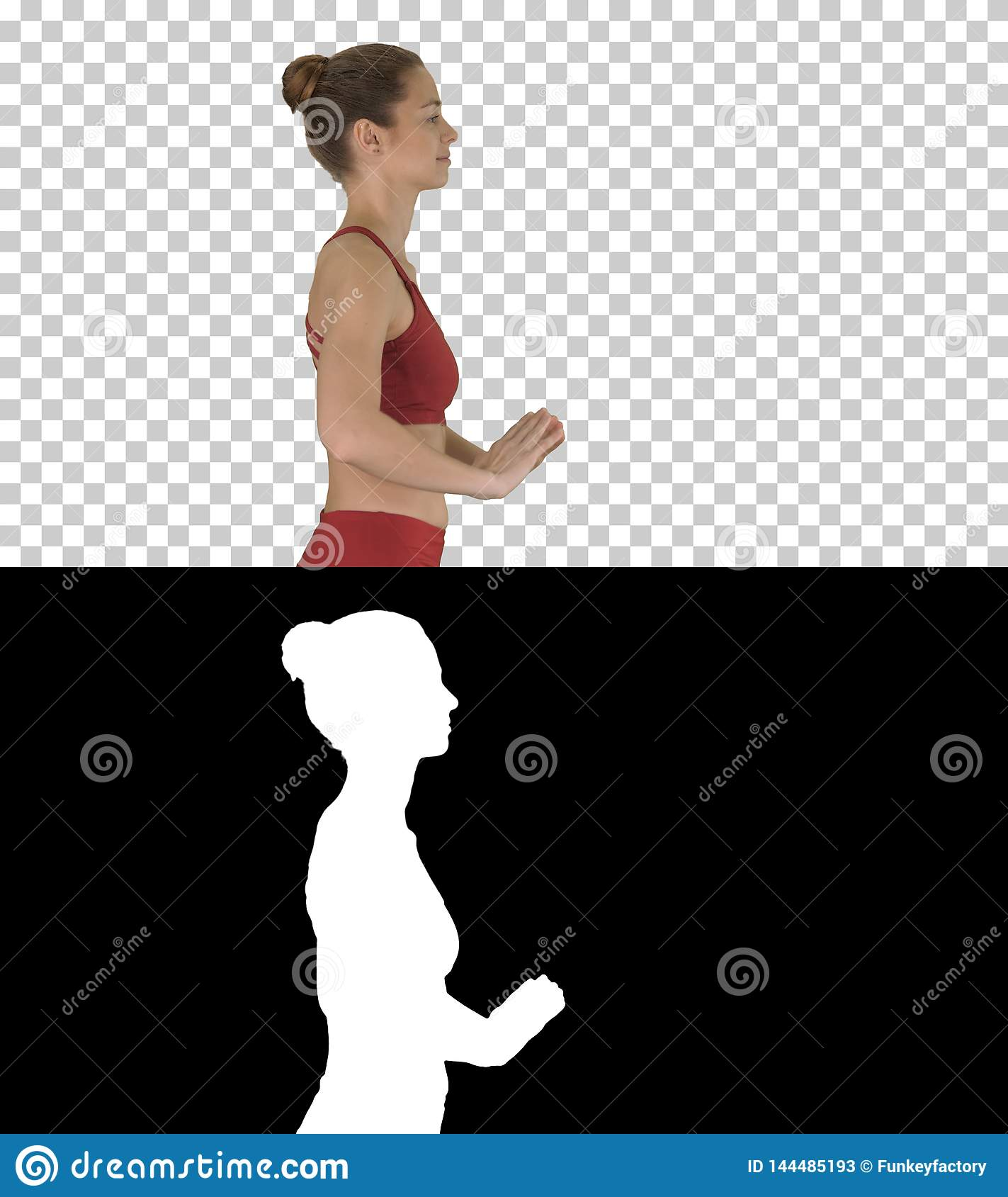 Happy sporty woman doing yoga breathing exercise while walking, Alpha Channel