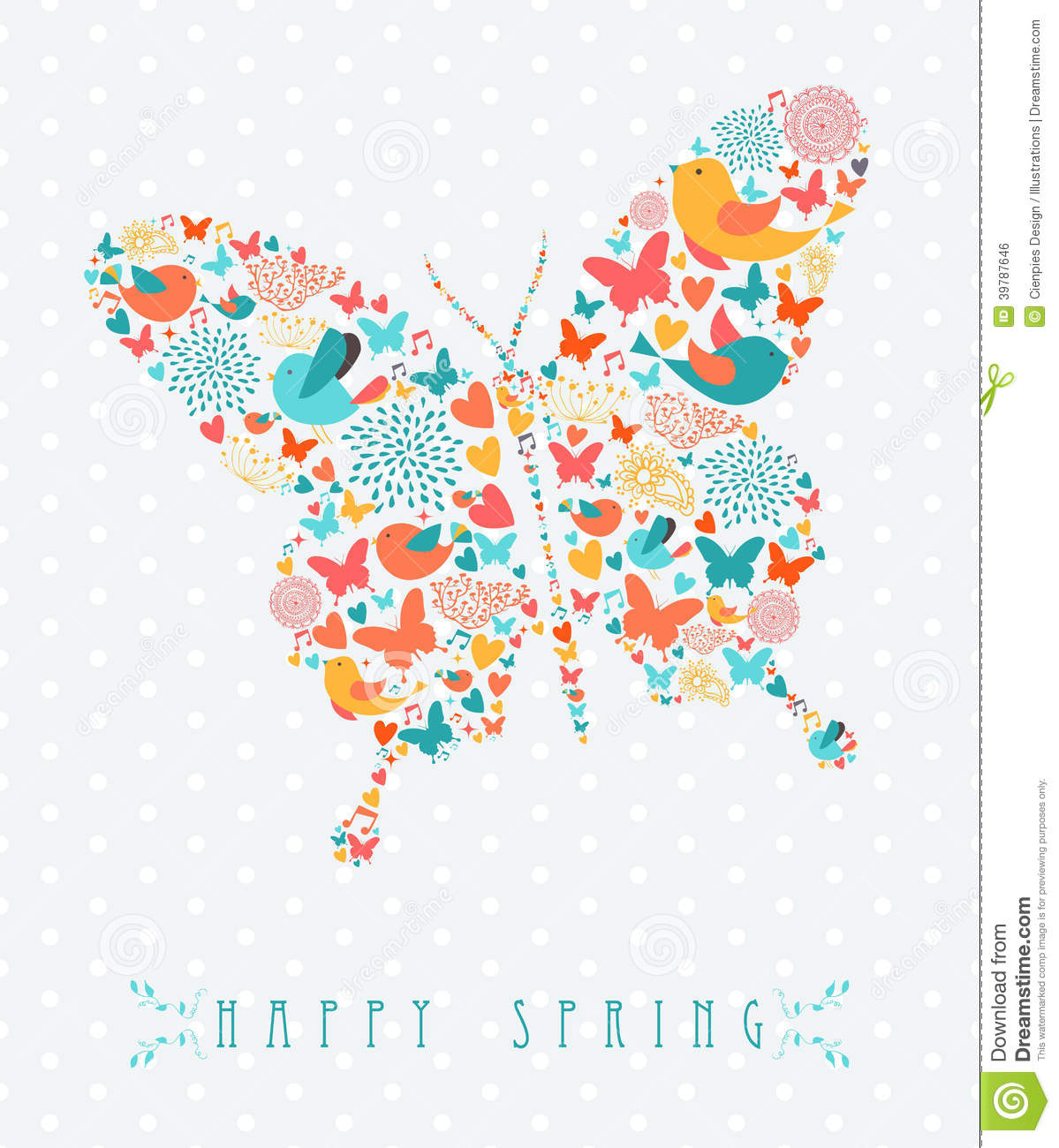 happy spring colorful butterfly concept stock vector