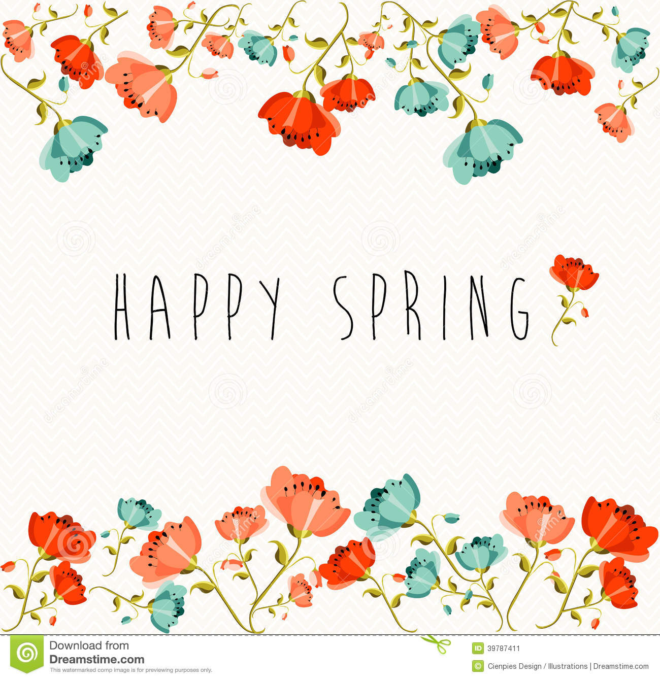 Springtime greeting card with colorful flowers composition. EPS10 ...