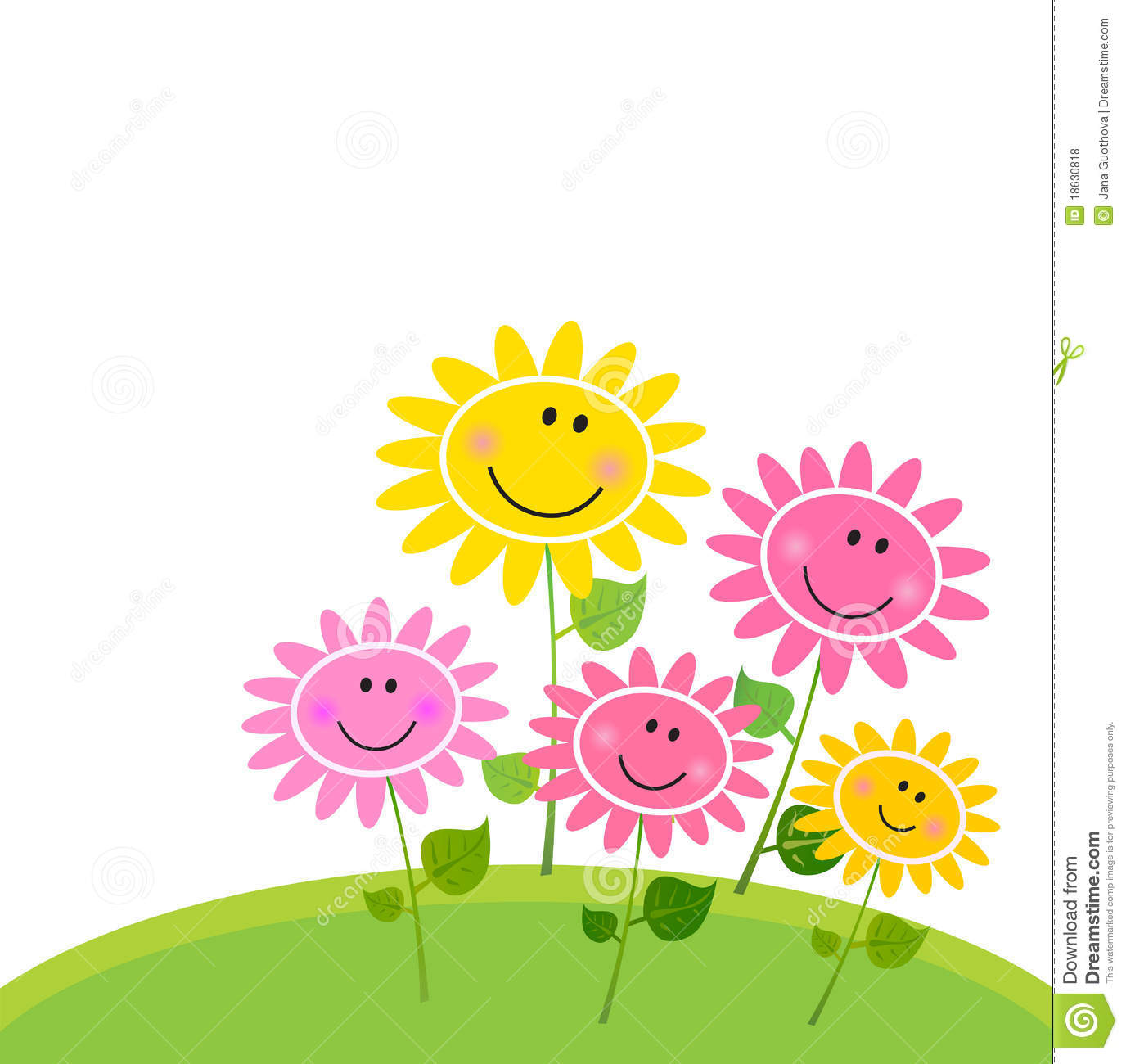 Happy Spring Flower Garden Isolated On White Stock Vector