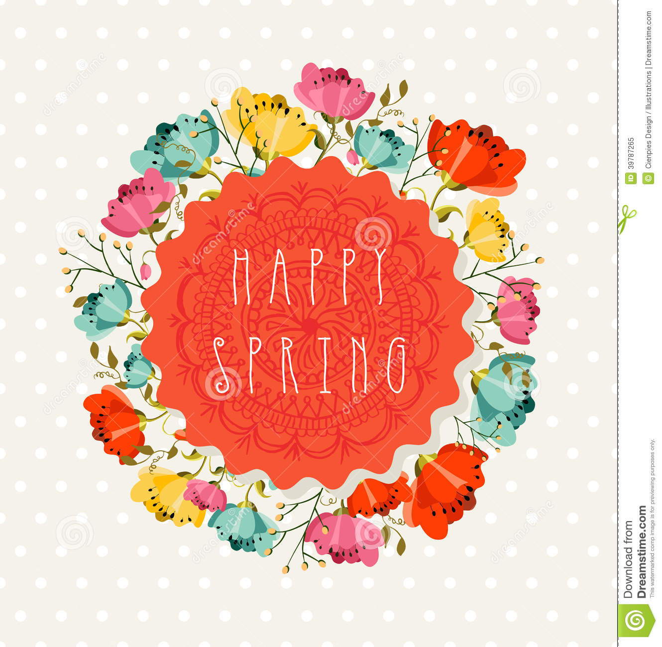 Colorful happy Spring greeting card with flowers bouquet composition ...