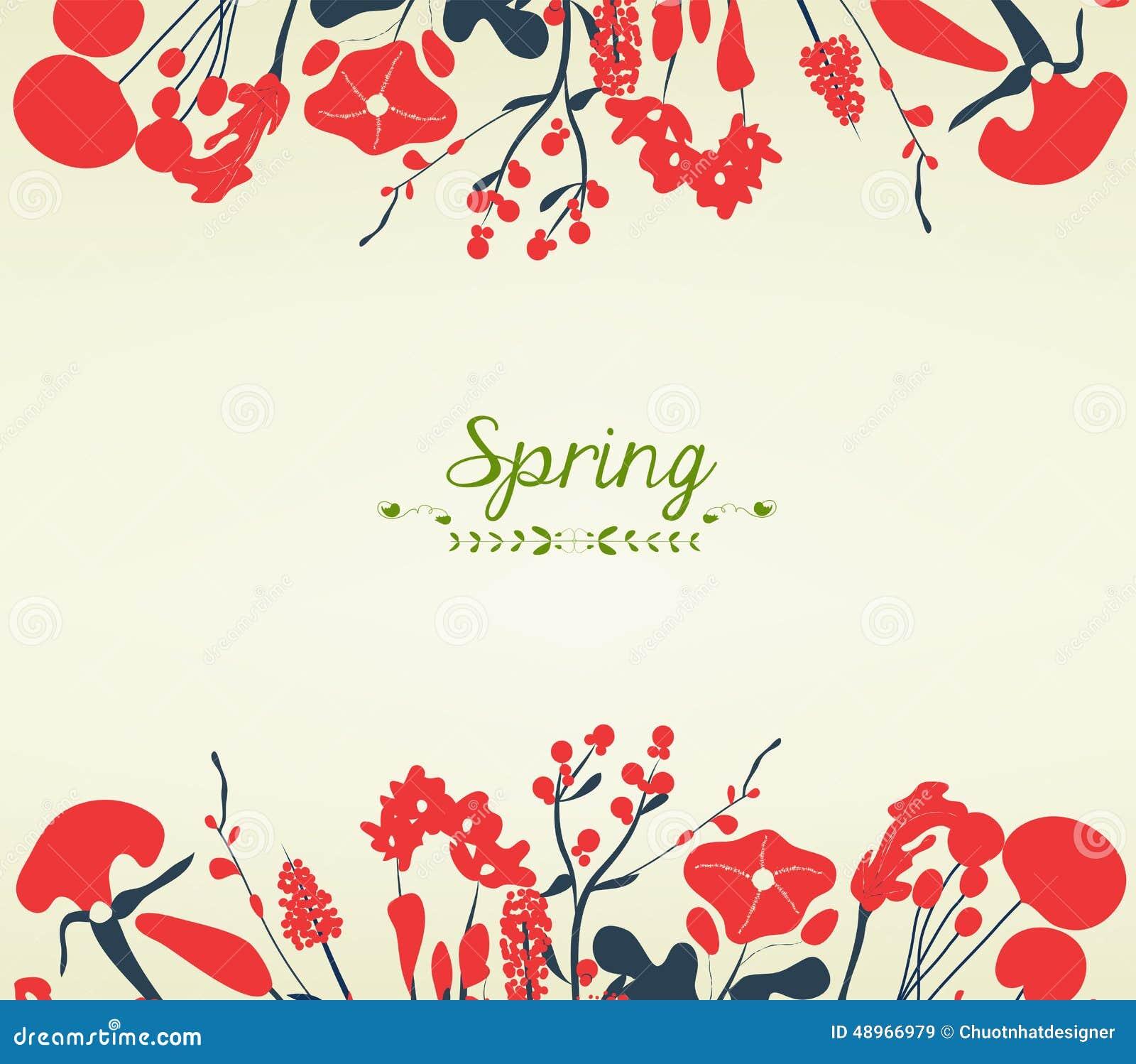 happy spring flower postcard vintage stock illustration
