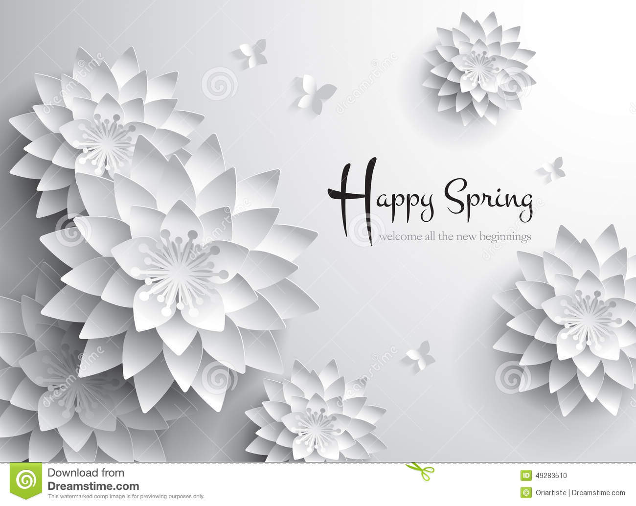 Happy Spring Welcome All The New Beginnings Stock Vector