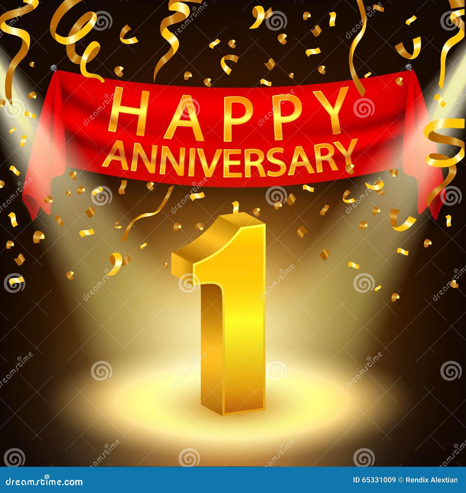 Happy 1st Anniversary Celebration With Golden Confetti And Spotlight Stock Vector