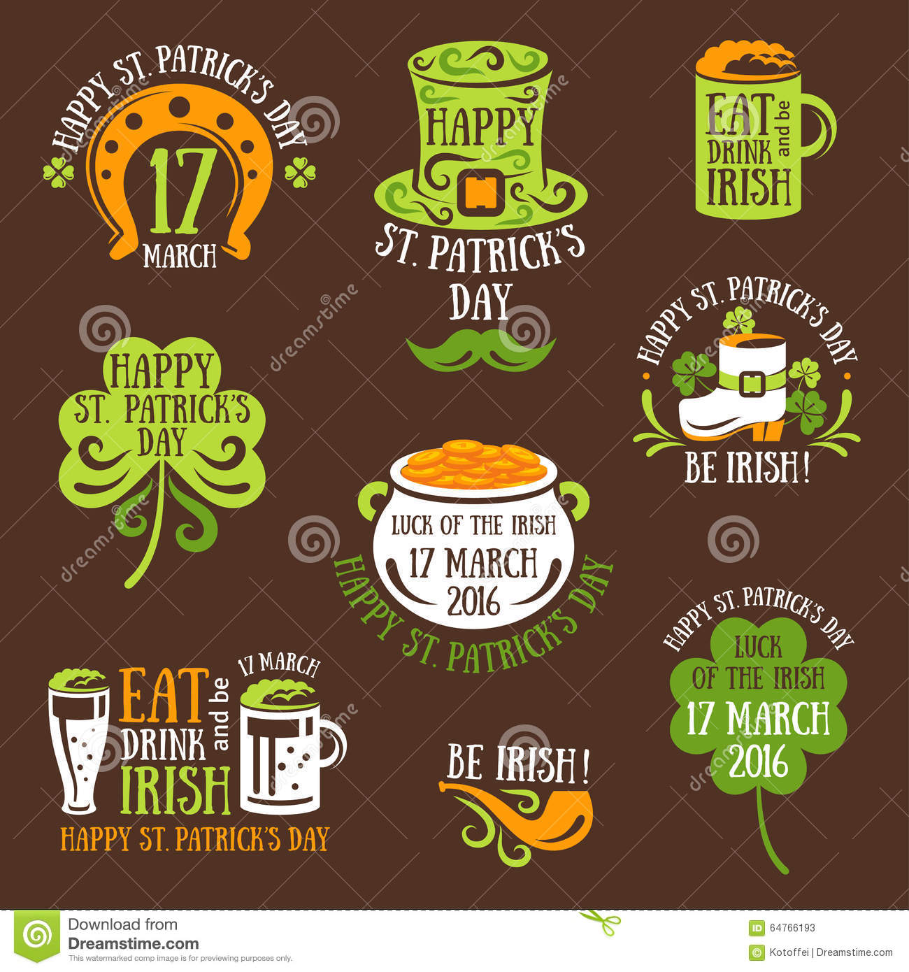 Happy St. Patrick Day Typography Emblems Stock Vector - Image ...