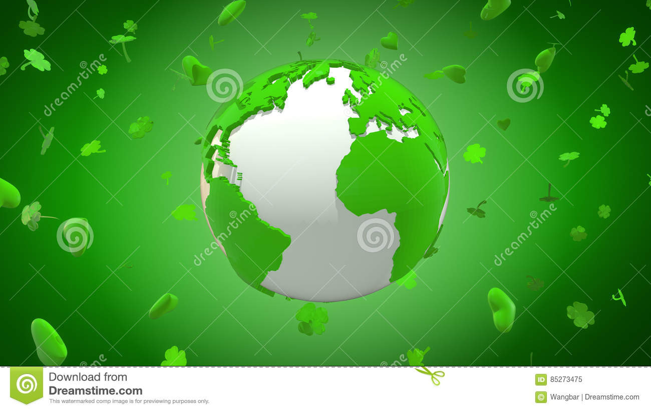 Happy St Patrick`s Day around the world with hearts and shamrocks