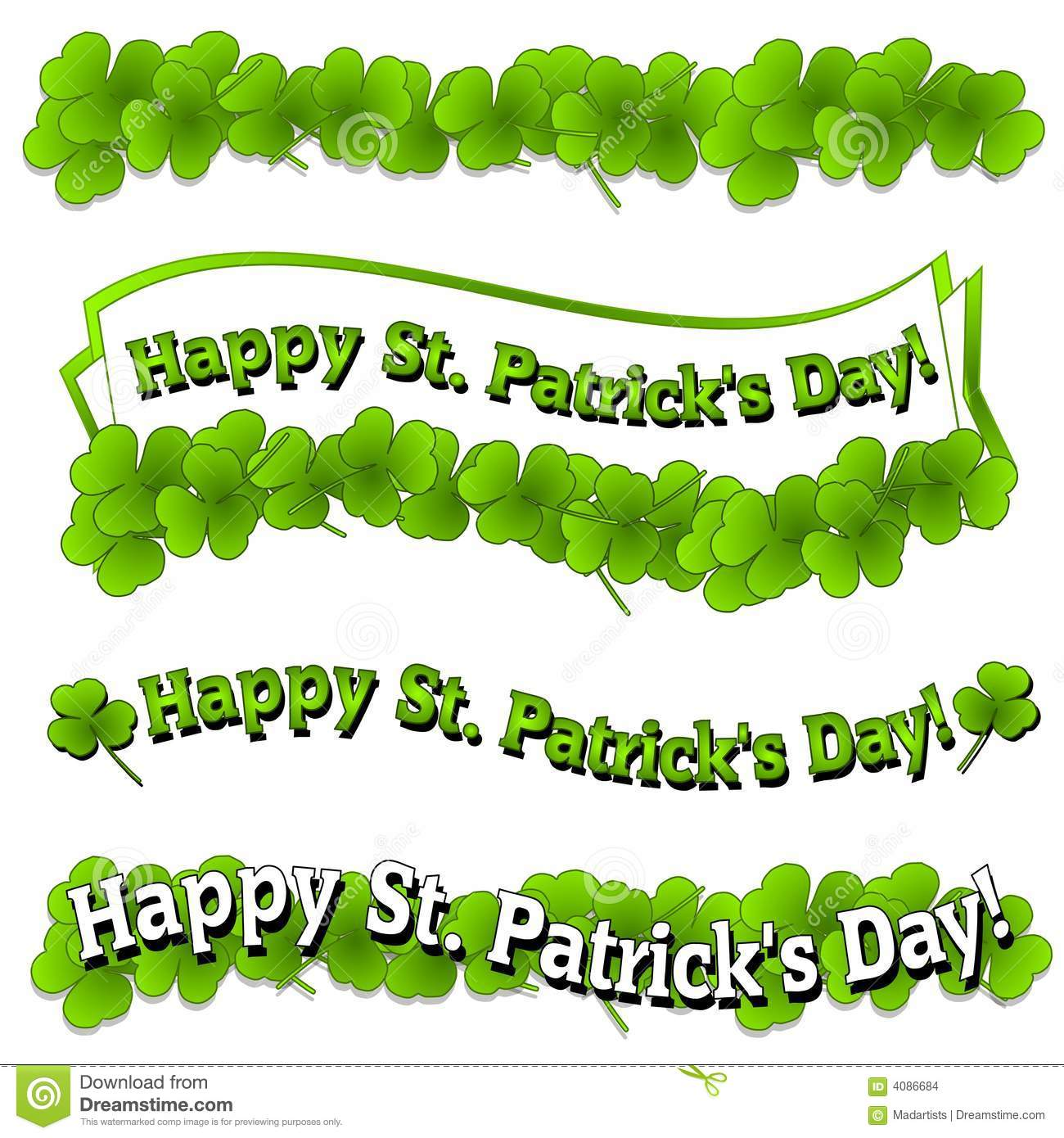 37324daf A clip art illustration featuring an assortment of St. Patrick's Day Logos  and Banners with bright green clovers