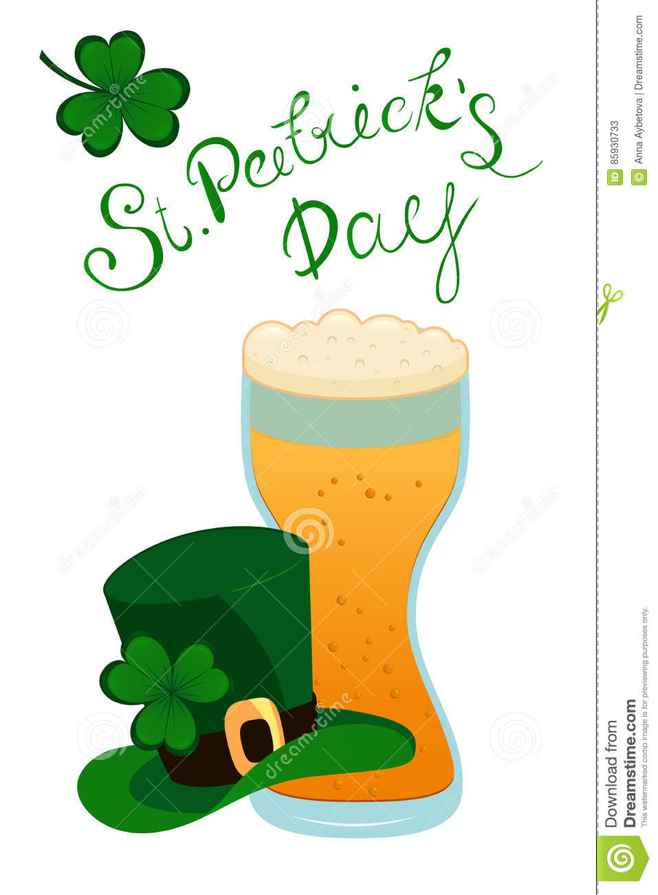 happy st patrick s day lettering with green clover shamrock beer