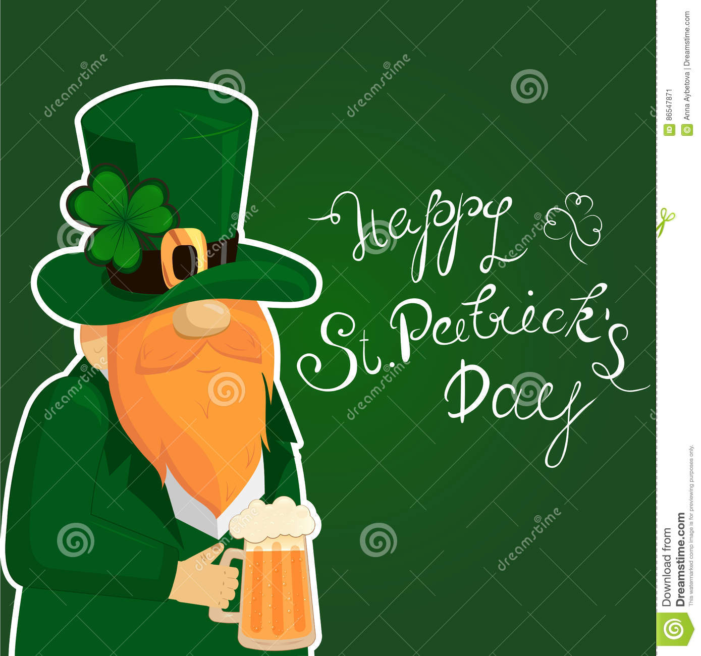 Happy St. Patrick`s Day lettering with Red Beared Leprechaun Character and clover shamrock. Irish hollyday template