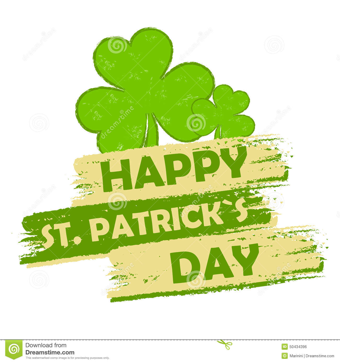 Happy St Patricks Day With Shamrock Signs Green Drawn Banner