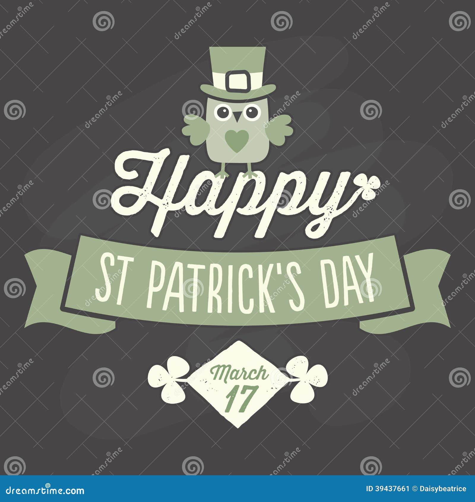 happy st patricks day card on chalkboard stock vector illustration