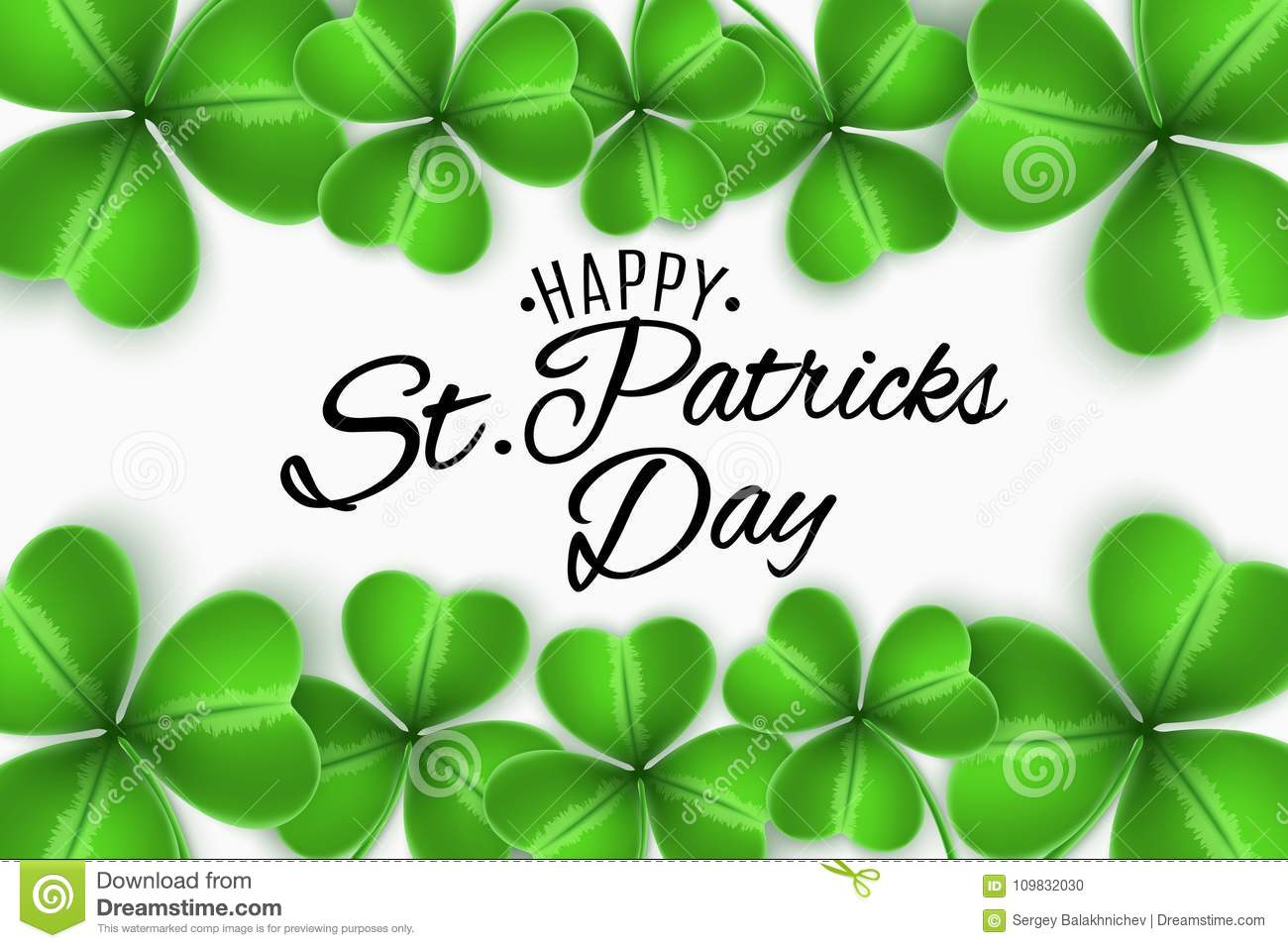 Happy St Patricks Day Greeting Invitation Card Clovers Of