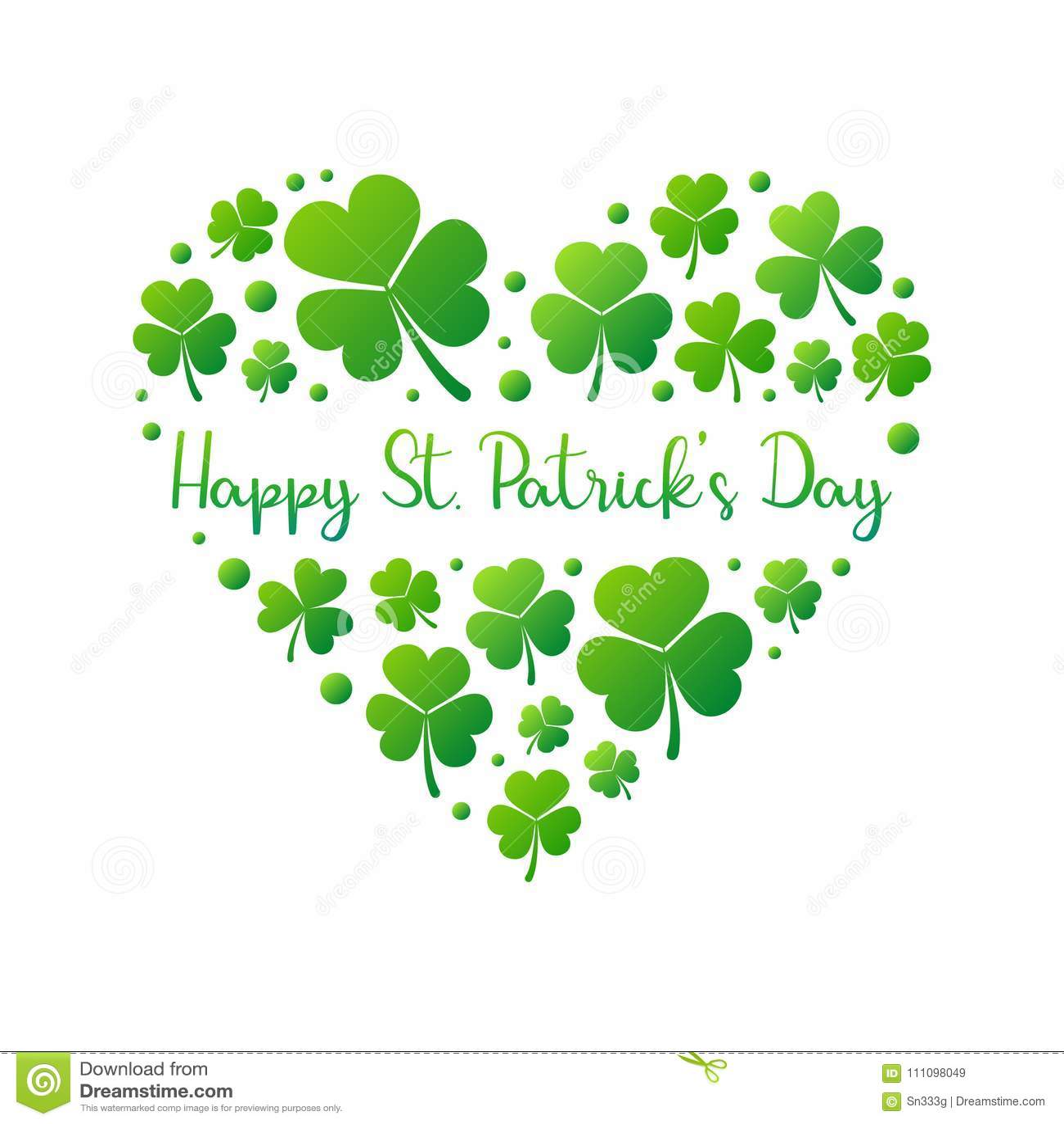 e390026a Happy St. Patricks Day heart made of bright green small shamrocks or  clovers on white background. Vector irish shamrock illustration