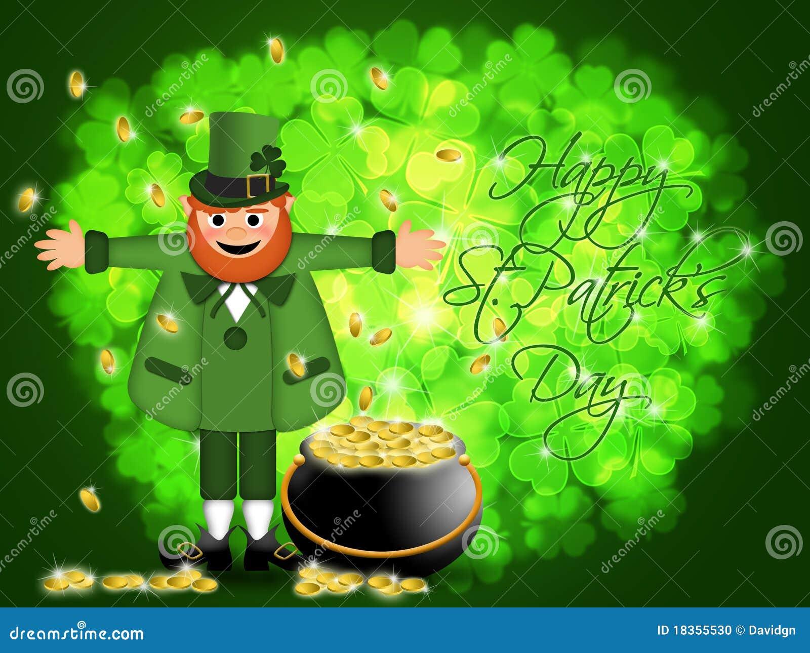 Happy St Patricks Day Leprechaun Pot Of Gold Stock