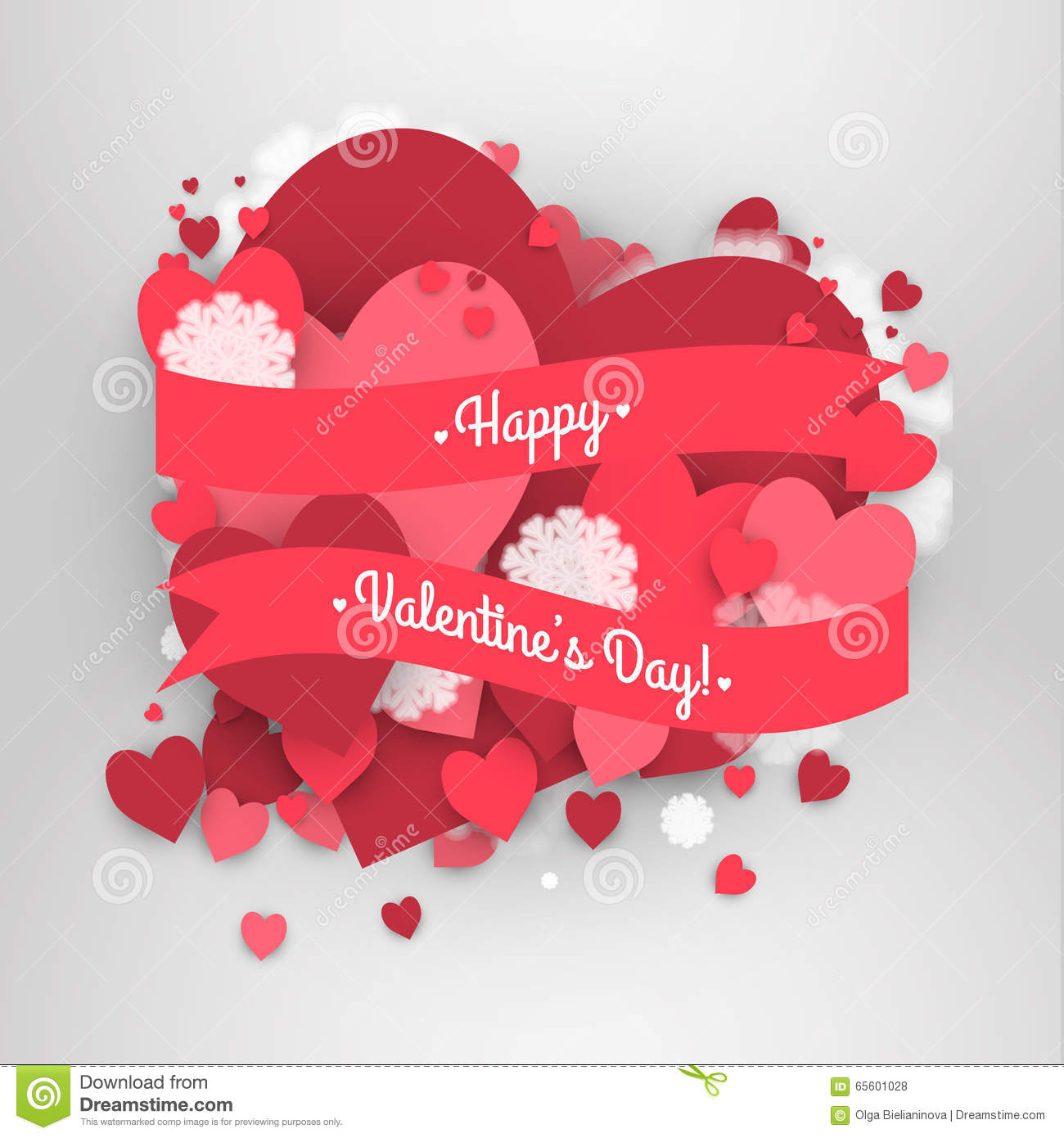 Happy St Valentine S Day Abstract Background With Ribbon And