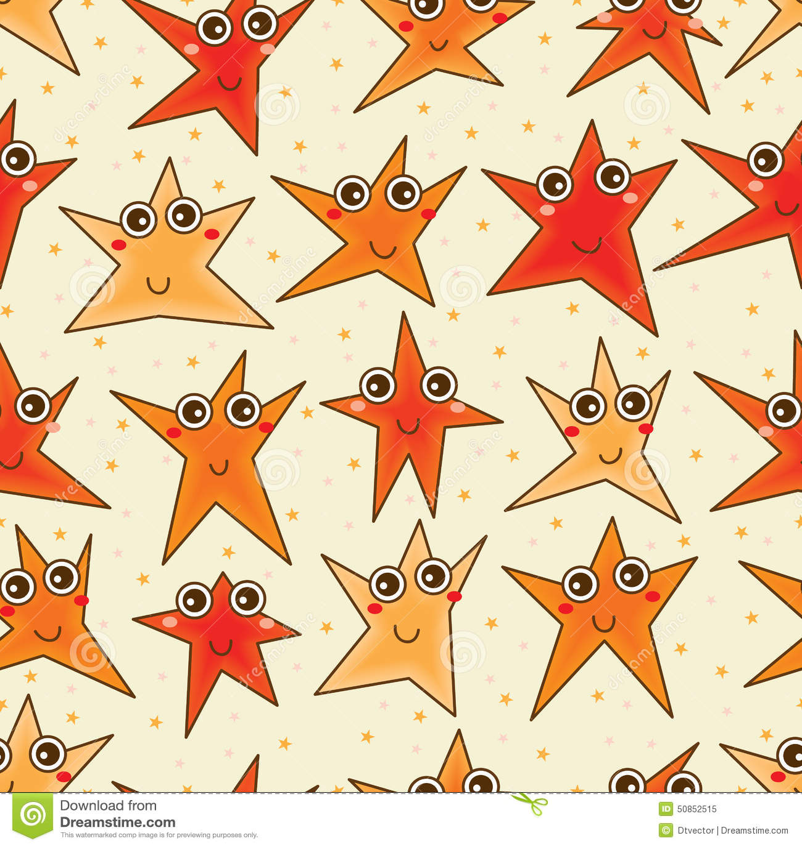 Happy star cartoon seamless pattern