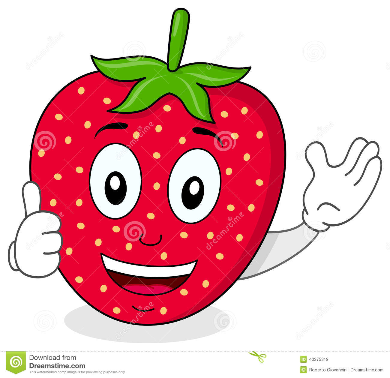 happy strawberry thumbs up character stock vector Fruits and Vegetables Background Fruits and Vegetables Background