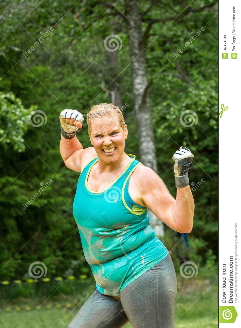 Happy strong chubby woman.