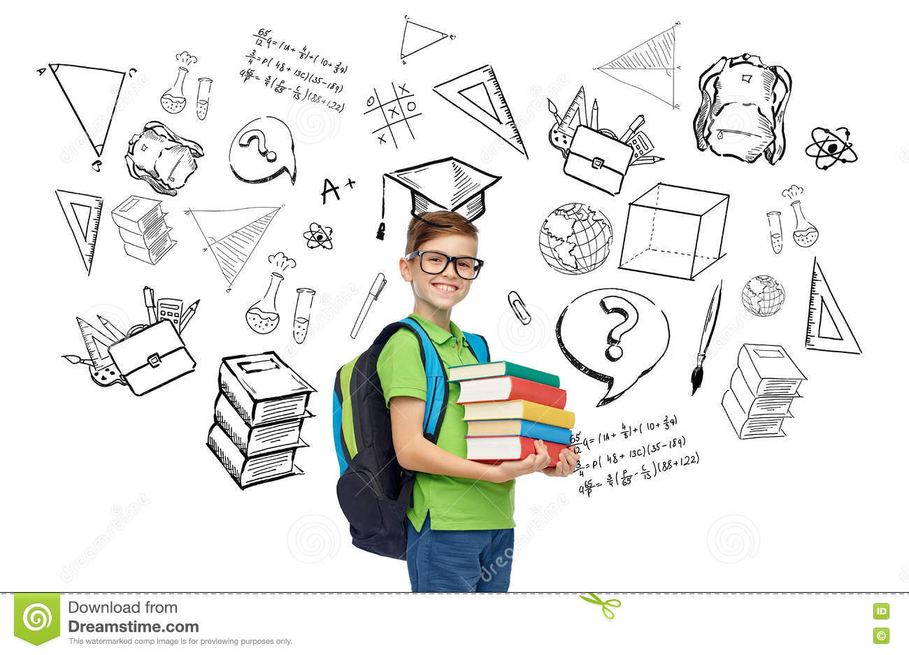 School bag diagram - Happy Student Boy With School Bag And Books