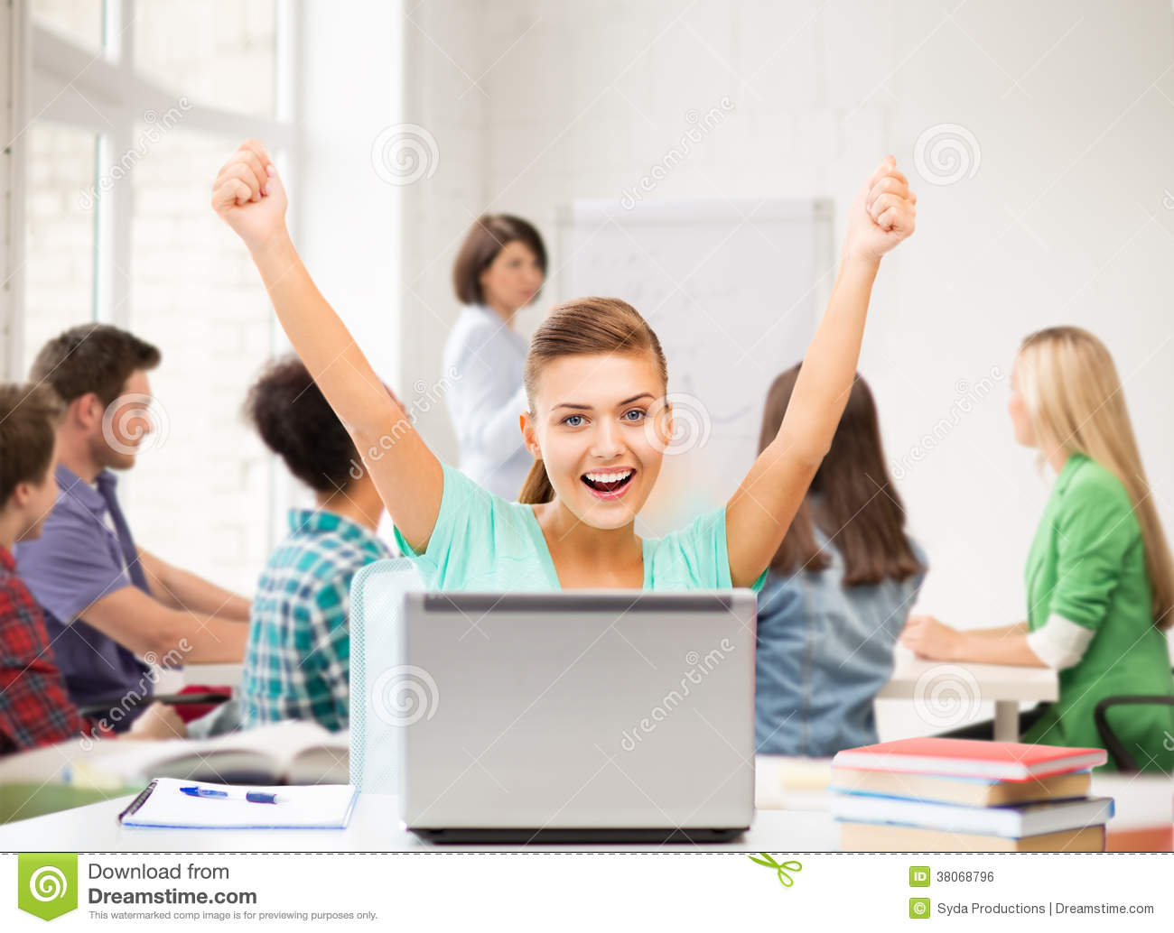 Happy Student Girl With Laptop At School Stock Photo ...