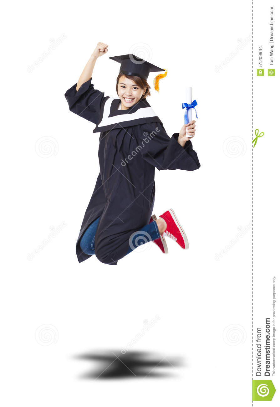Happy Student In Graduate Robe Jumping Against White Back
