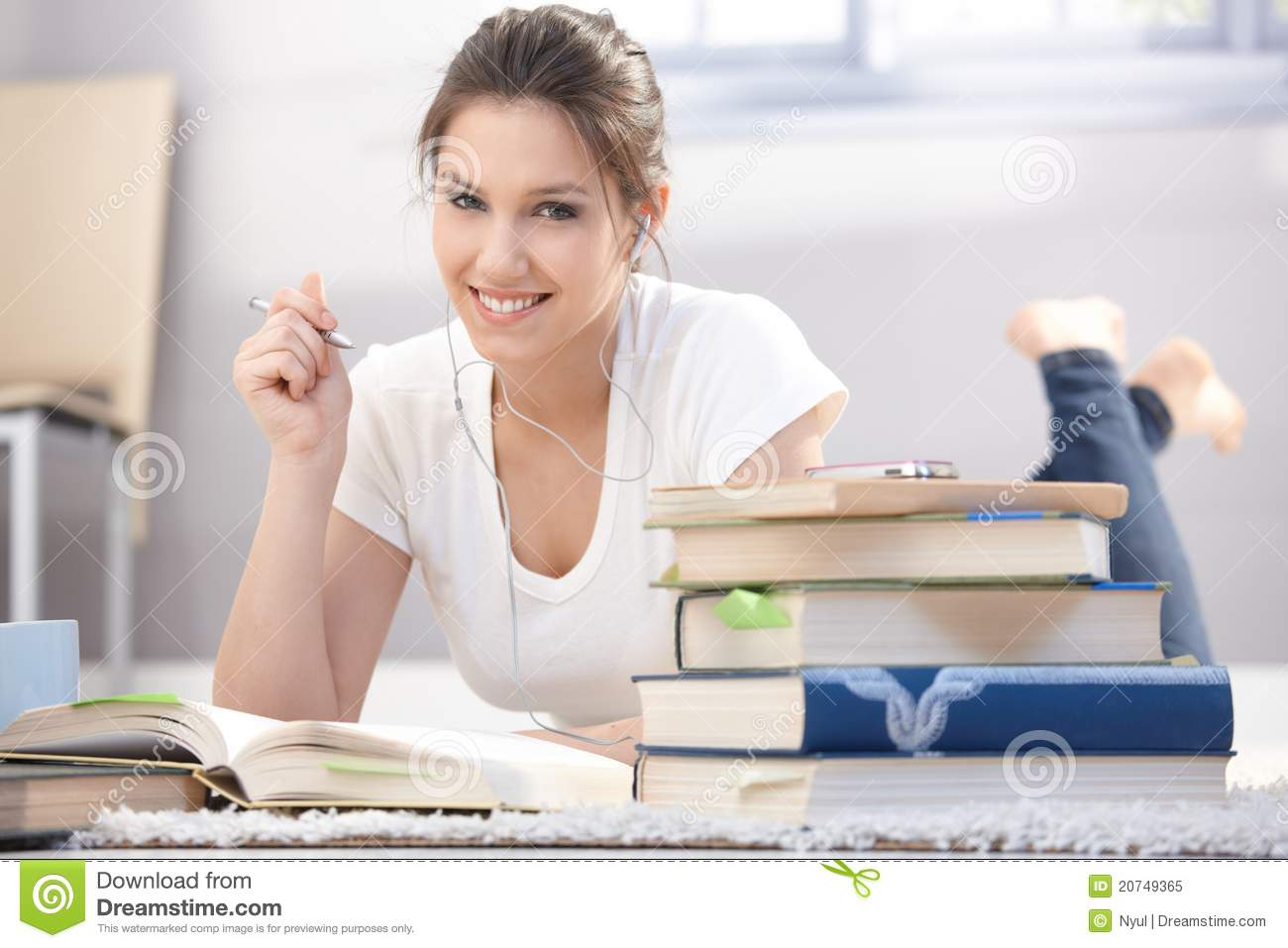 Happy student learning at home
