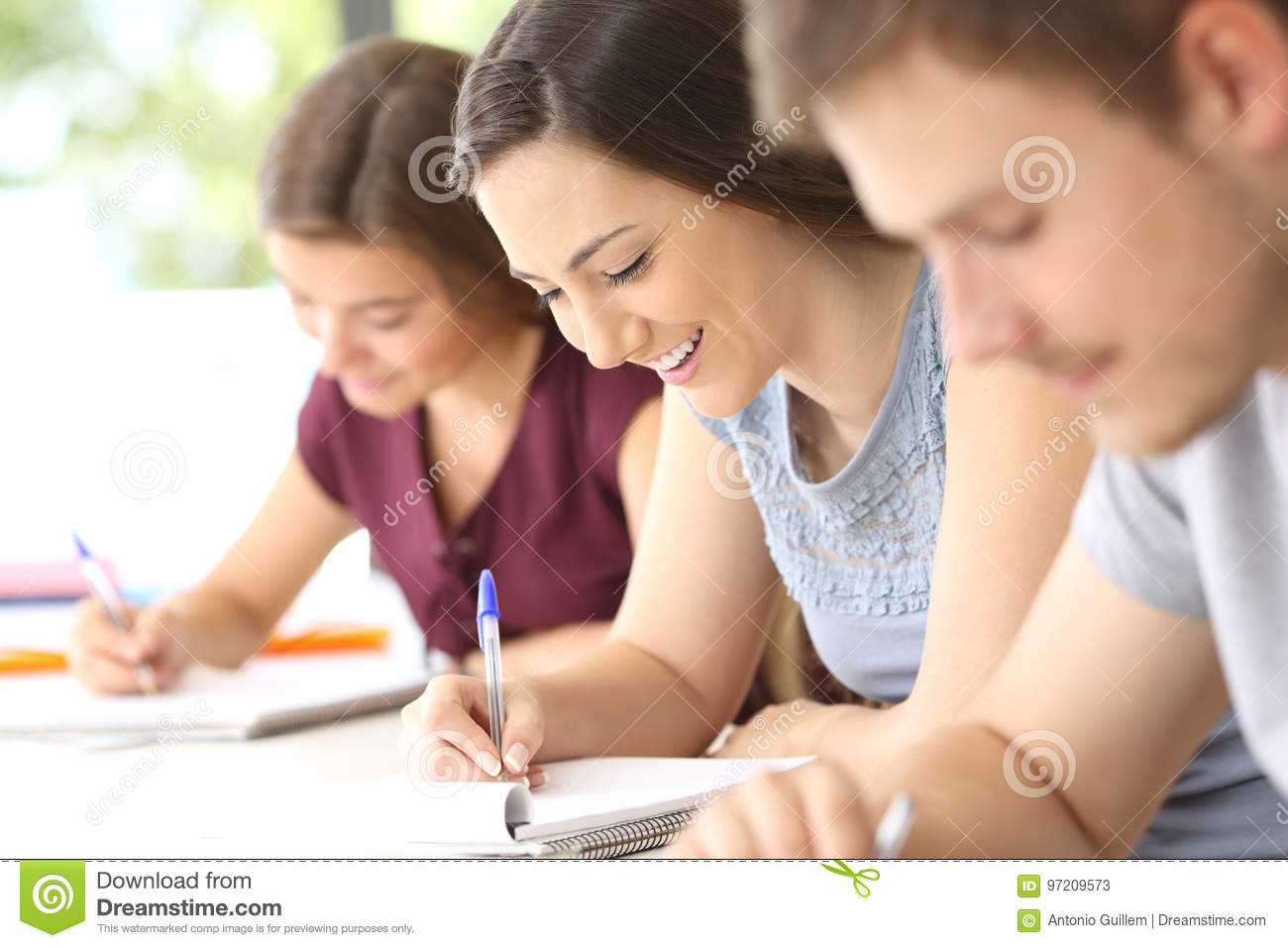 Happy student taking notes in classroom