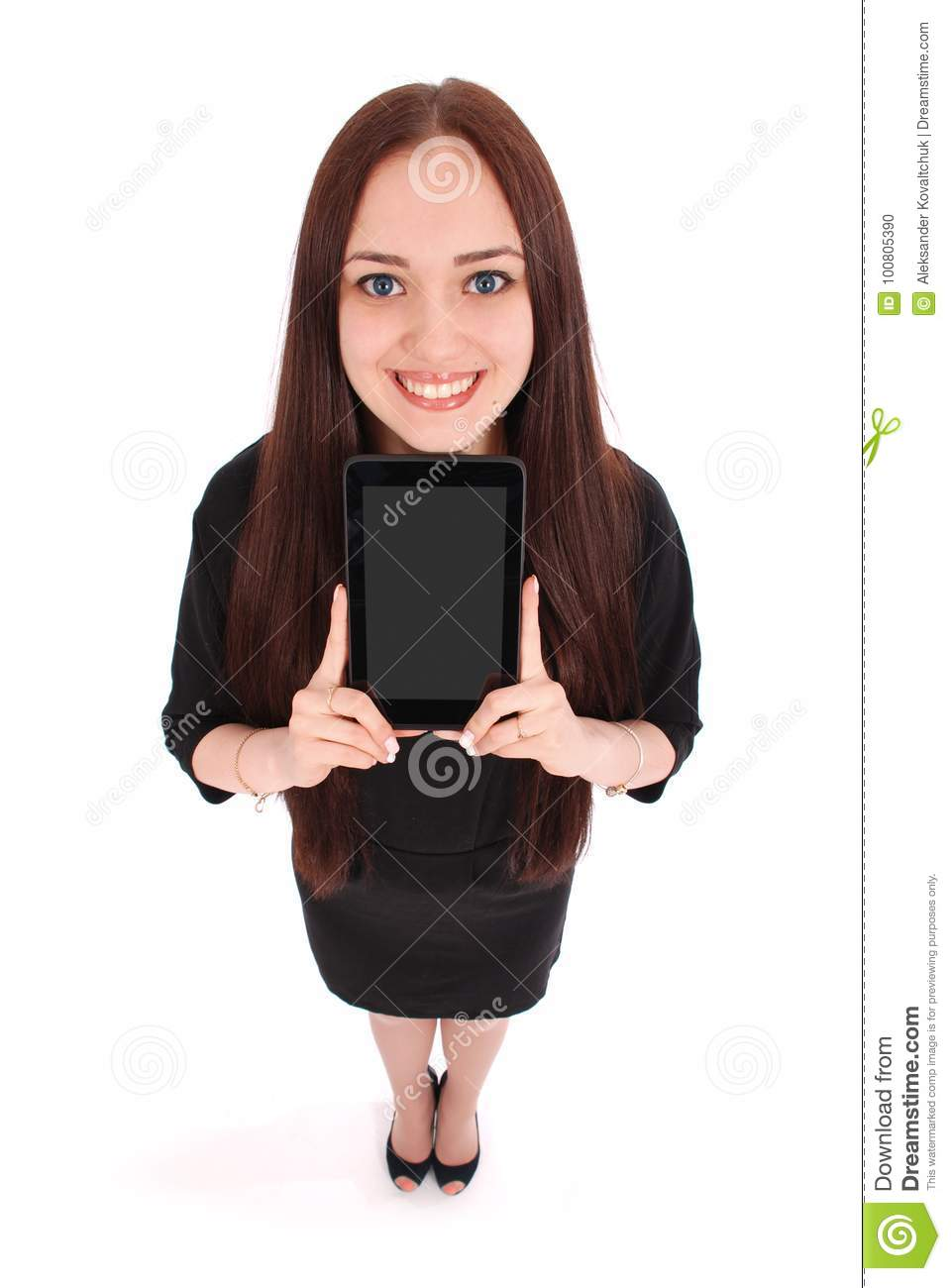 Happy student teenage girl with tablet pc