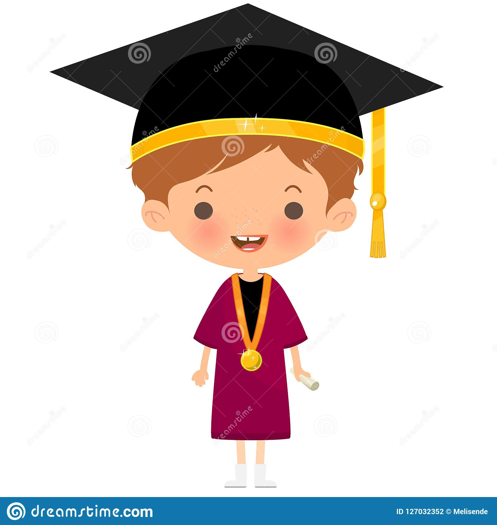 Happy student wearing graduation hat and outfit. Happy student smiling and wearing graduation hat outfit and medal holding a diploma Stock Illustration