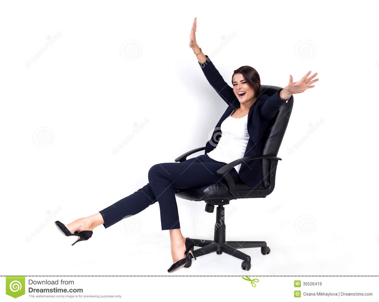 Happy Successful Business Woman In Office Chair Royalty